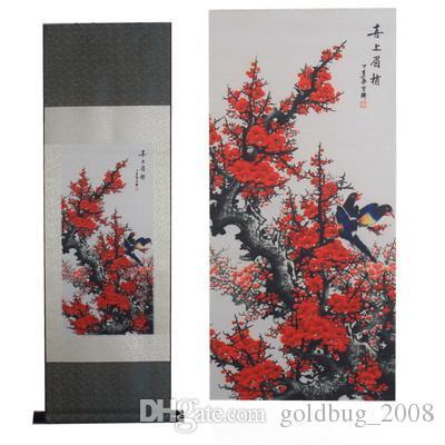 Gros bon marché dragon jaune / grande muraille / tigre / fleur de prunier Hanging Scroll Painting Home Decor cadeau de pendaison de crémaillère 6 options de style