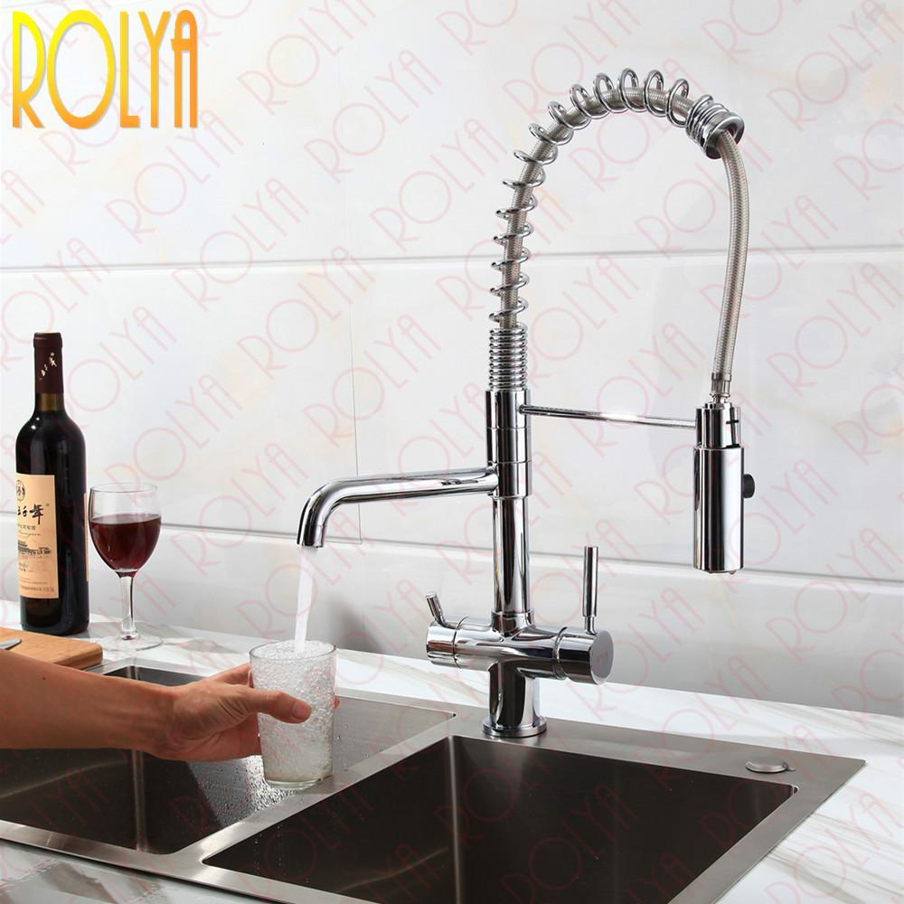 Best Rolya New Tri Flow Kitchen Faucet With Sprayer Hose Gooseneck ...