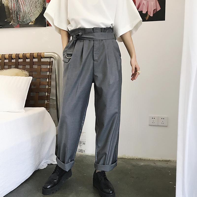 2019 2018 New Design Drape High Waist Baggy Trousers Popular Logo