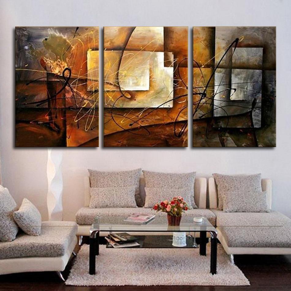 Großhandel Handgemaltes Modernes Abstraktes Ölgemälde Wandkunst Leinwand Set  3 Panel Realistische Dekoration Bild Für Küche Wohnzimmer Y18102209 Von  Gou09, ...