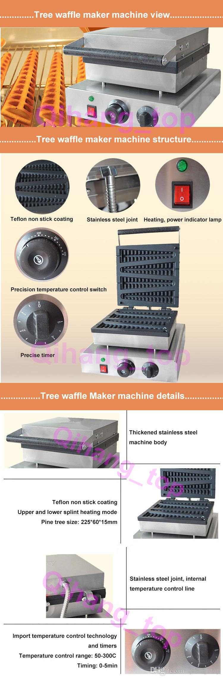 Christmas tree waffle stick maker commercial Non-stick electric tree lolly waffle making pine tree lolly waffle machines