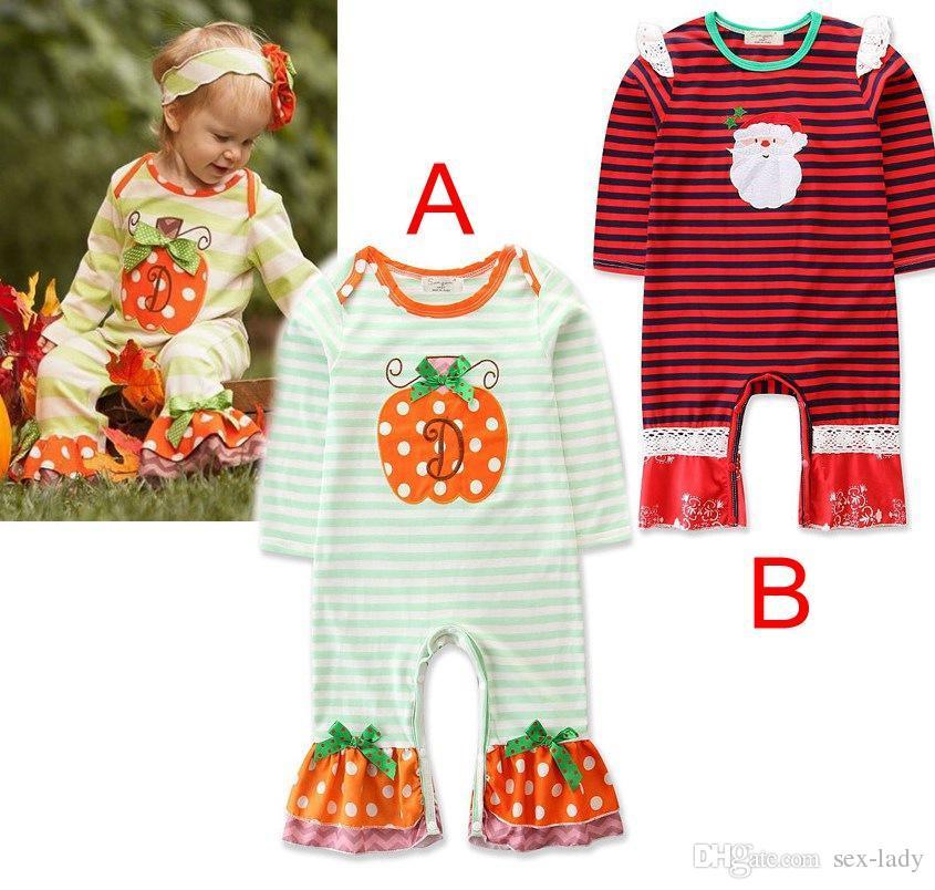 21a206d0e XMAS Halloween PUMPKINS SANTA Baby 100% COTTON ROMPERS Girls Pumpkin ...