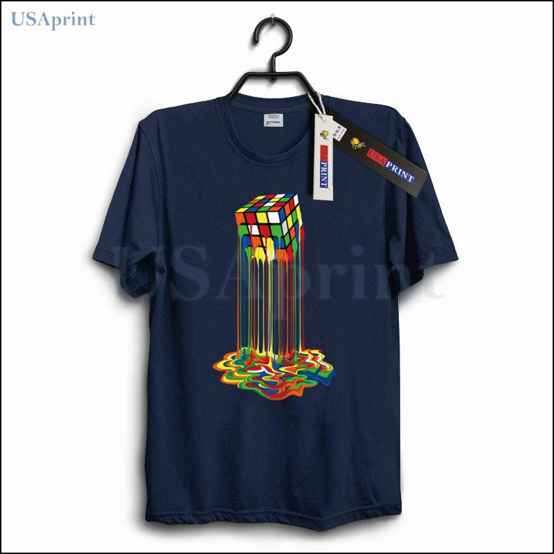 bbea683b1 USAprint Fashion Men Shirt Rainbow Melt Cube Print Top Fit Cotton Clothing  Male Camiseta Masculina Casual Streetwear Summer Tee Online Shop T Shirt  Shirts ...