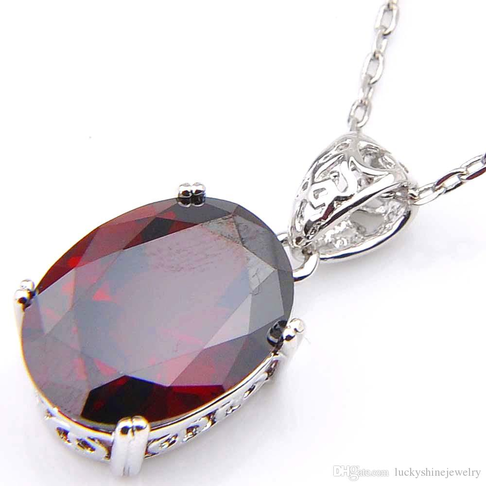 10Pcs Luckyshine Excellent Shine Oval Fire Red Kunzite Cubic Zirconia Gemstone Silver Pendants Necklaces for Holiday Wedding Party
