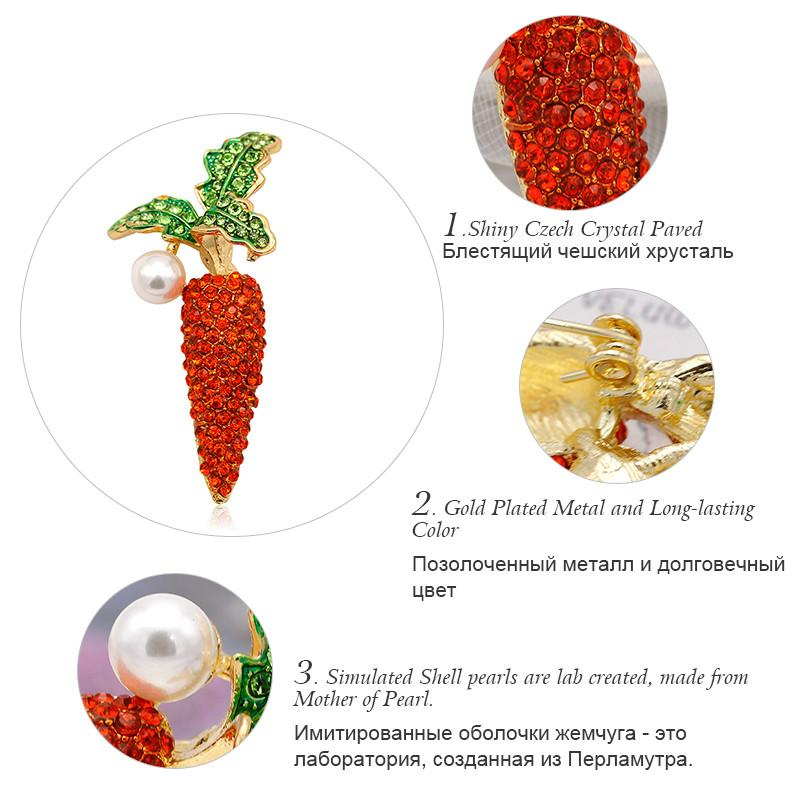 ALLYES Vegetable Carrot Brooches For Women Gold Color Metal Simulated Pearl Red Crystal Costume Large Enamel Pin Brooch Jewelry