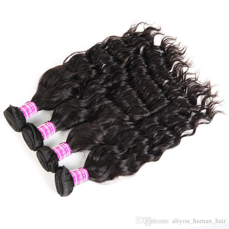 4 or 5 Brazilian Virgin Human Hair Bundles Straight Body Water Deep Wave Kinky Curly Hair Extensions 8A Peruvian Indian Weave Deals