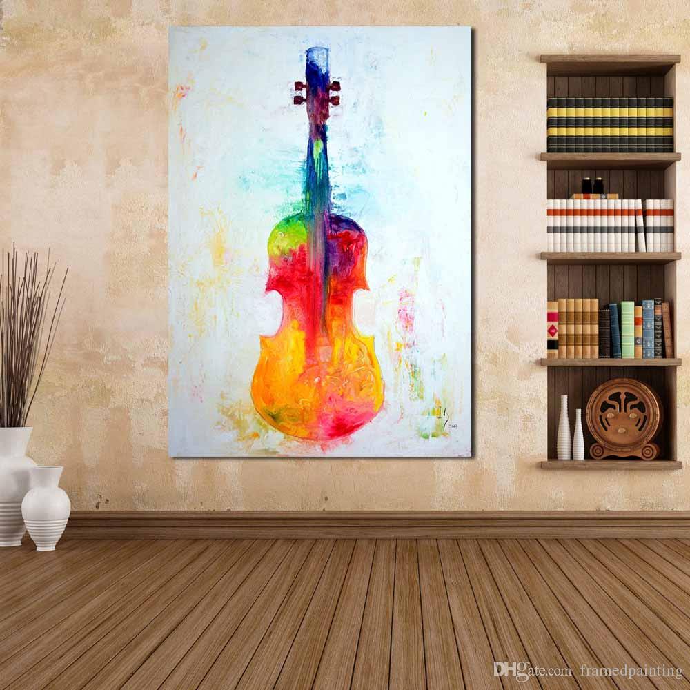 Satın Al Yağlıboya Tuval Sanat Ev Dekorasyonu Renkli Keman Boyama