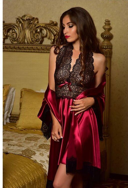 c82730462fab 2019 Women Sexy Robe Satin Silk Sleepwear Dess Babydoll Lace Robes Sleep  Dress Nightwear Nightgown Sexy Women From Smotthwatch