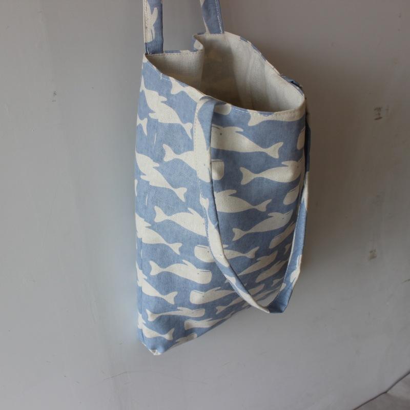 Borsa shopping riutilizzabile in lino di cotone nuovo di zecca Borsa stampa Tote con stampa blu chiaro D02