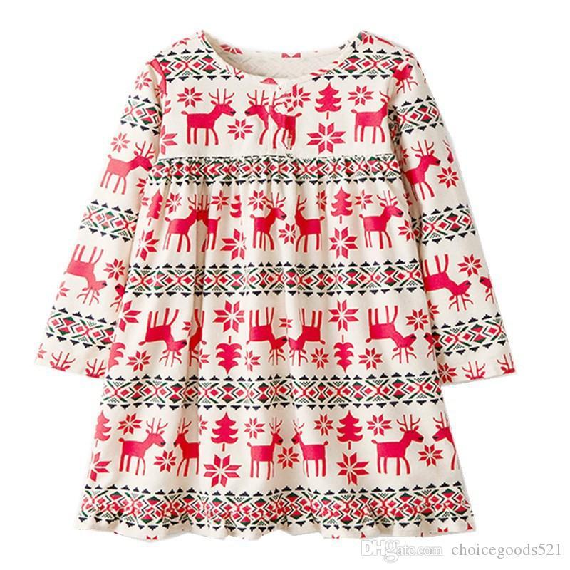 Acquista Abito Bambini Natale Vestito Bambina Abiti Natalizi Stampa Cotone  Manica Lunga Abbigliamento Ragazza 6P   L A  39.2 Dal Choicegoods521  25e8cc510e7