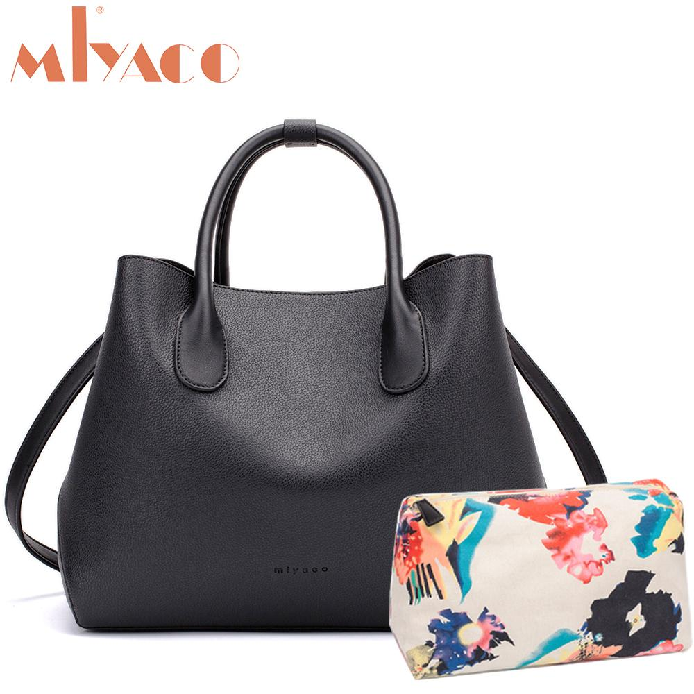 04be8a9b5418 2018 Brand Women Bag Black Leather Handbags Designer Casual Tote Bag  Messenger Bags Female Top Handle Bag With Floral Purse Y1892506 Handbags  Purses From ...