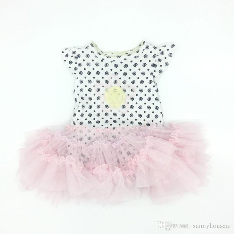 da32d4c8982d Satın Al Bebek Kız Elbise Romper Tutu Etek Pamuk Dantel Çiçek Desen Uçan  Kollu Prenses Tulum Bebek Giyim