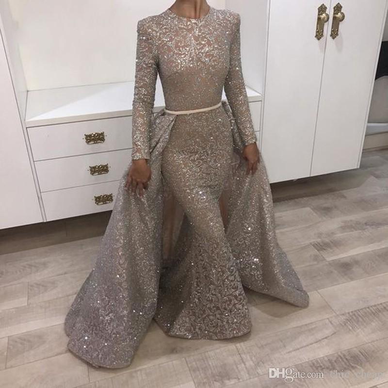 Muçulmano Mermaid Formal Vestidos Turco Árabe Dubai Bling Único Tecido Evening Vestidos Vestido para casamentos