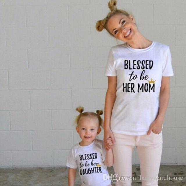 Mother and Daughter Matching Outfit Matching Family Clothing Mommy and Me Outfits Letter Print Short Sleeved T shirts Summer Family Clothes