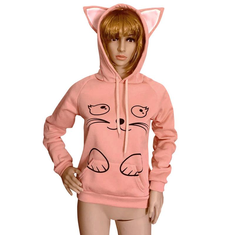 7a34a2c5e7024 Fashion Women Cute Animal Print Hoodies Kawaii Cat Ear Cartoon Loose Long  Sleeve Sweatshirt Pullovers Winter Clothes Women 2019