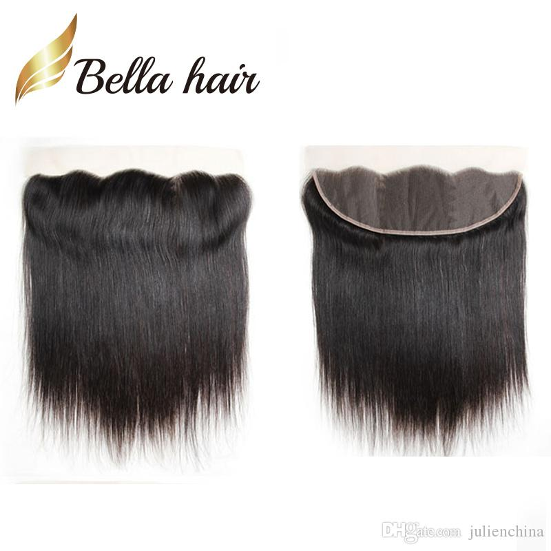 Bella Hair® 13x4 Orelha a Orelha Pré-Arrancada Lace Frontal Encerramento Hairpieces Top Grau 10A Natural Cor Peruana De Seda Em Linha Reta Cabelo Humano