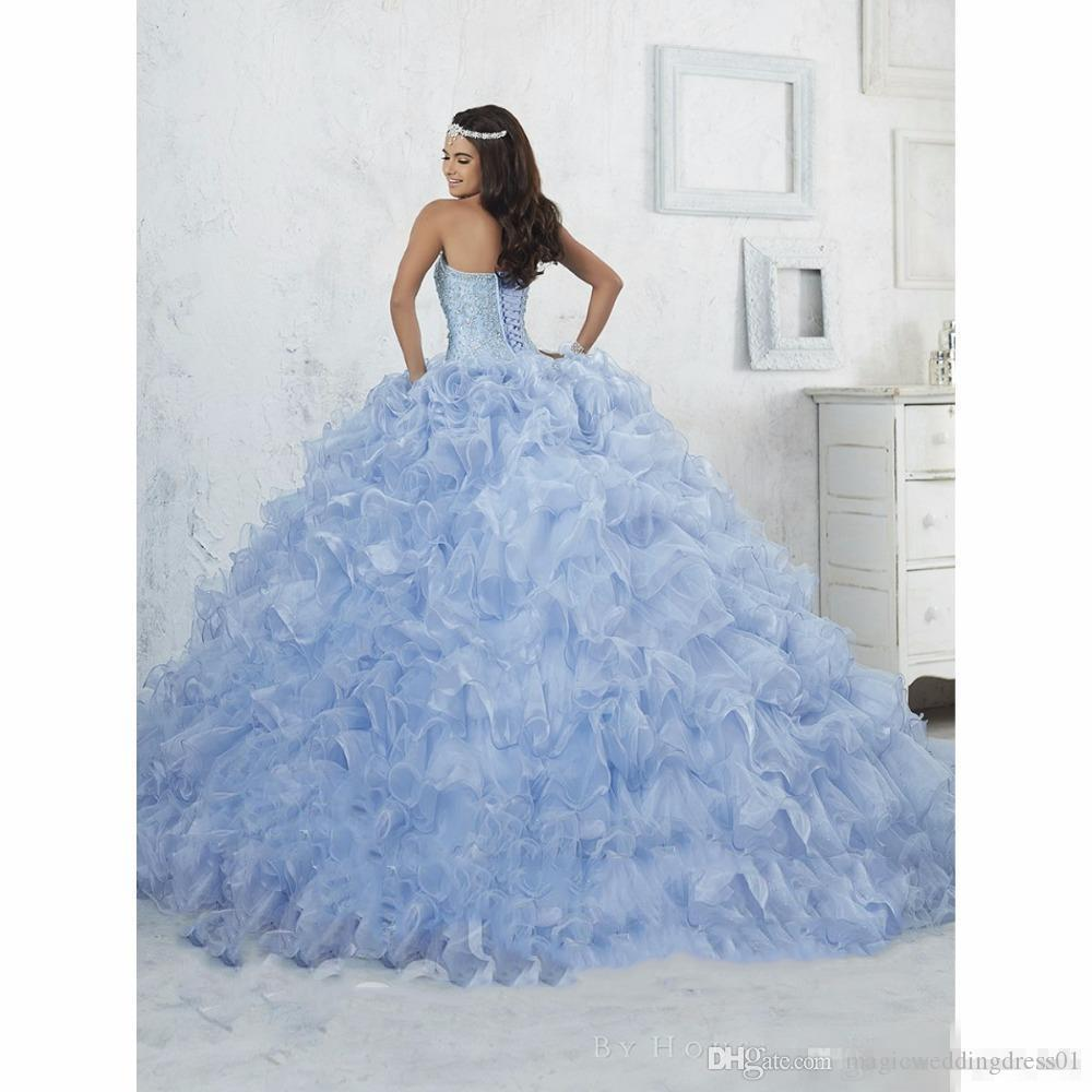 Bling Bling Ball Gown Blue Quinceanera Dress 2017 Ruffles Beaded Organza Prom Dress Debutante Masquerade Gowns Cheap Sweet 16 Dresses