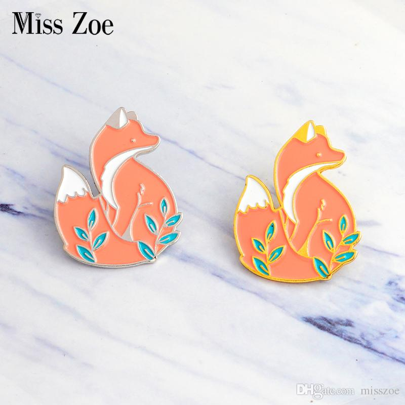 2018 Miss Zoe Gold Silver Red Fox In Grass Brooch Denim Jacket Pin Buckle  Shirt Badge Cartoon Animal Jewelry Gift For Kids Friends From Misszoe, ...