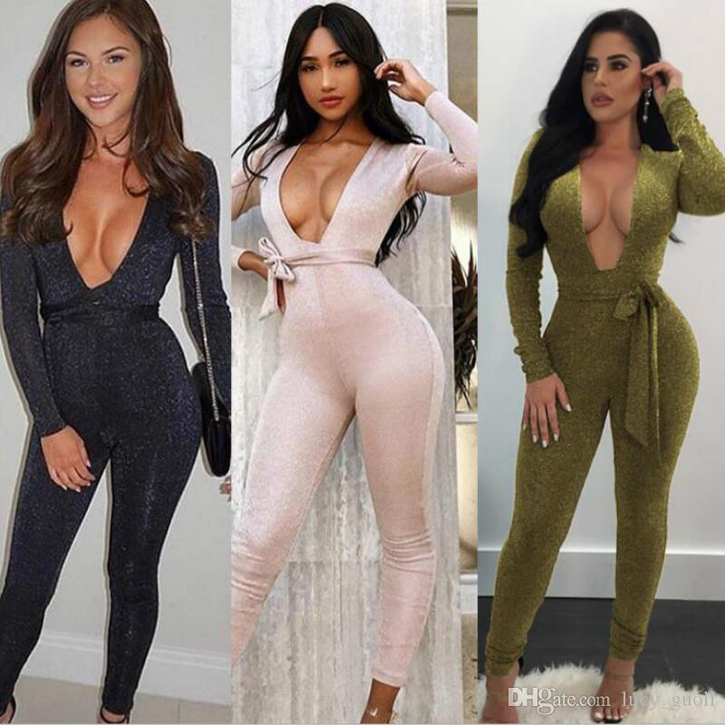 5bd550d31d02 2019 Hot 2018 New Style Spring Rompers Women Jumpsuit Plus Size Hollow Out  Hole Solid Black Bodysuits Long Sleeve Skinny Bodycon Zipper Jumpsuits From  ...