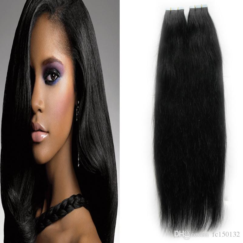 #1 Jet Black Tape In Human Hair Extensions Straight 100g Remy Human Hair skin weft Tape Weft Black Hair 4b 4c