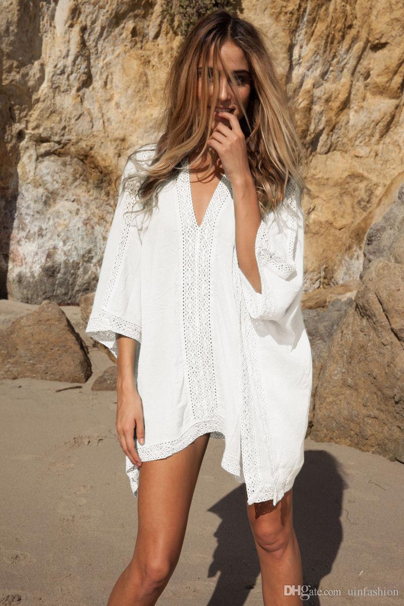 buy popular 070dd 78e92 Sommer Bikini Sonnencreme Weiß Blau Spitze Crochet Strand Tunika Frauen  Beachwear Sexy V-Ausschnitt Langarm Aushöhlen Cover Ups Bikinis Top Shirt