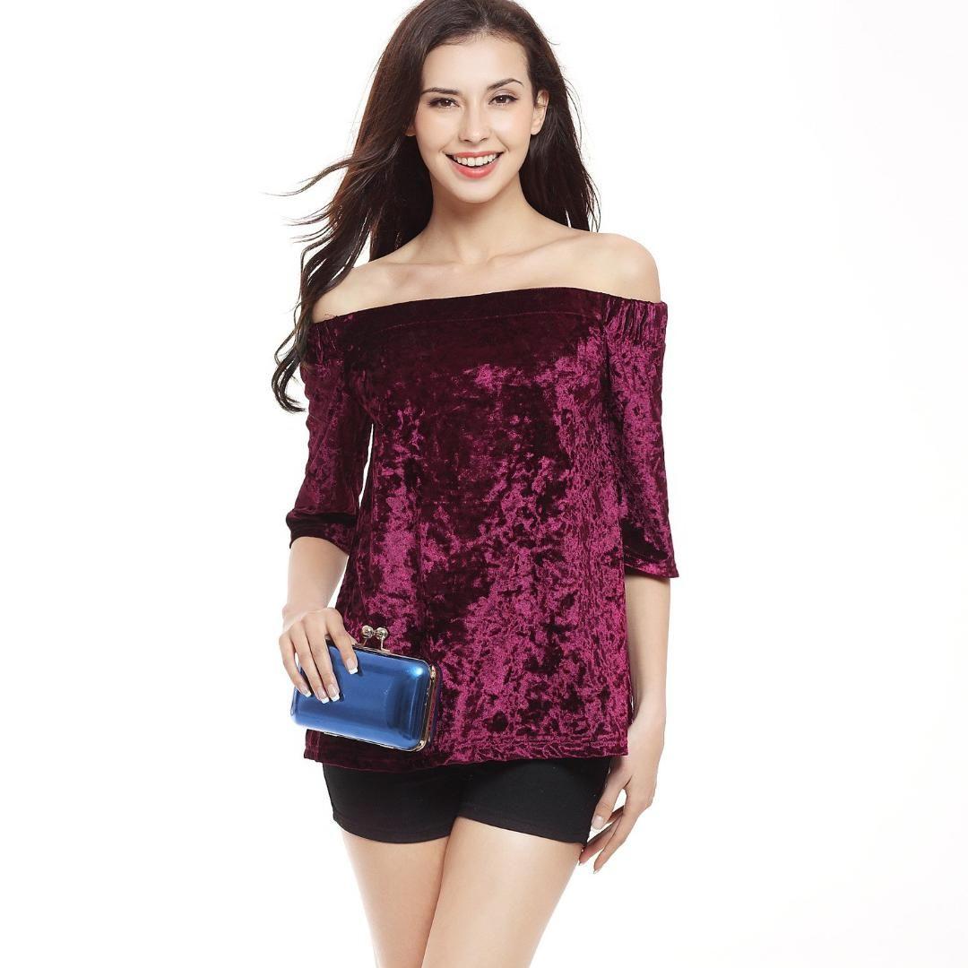 0433c45aadd 2019 Summer Autumn Woman Elegant Solid Blouses Slash Neck Off Shoulder Half  Sleeve Shirt Sexy Party Club Velvet Shirt Clubwear From Berniceone