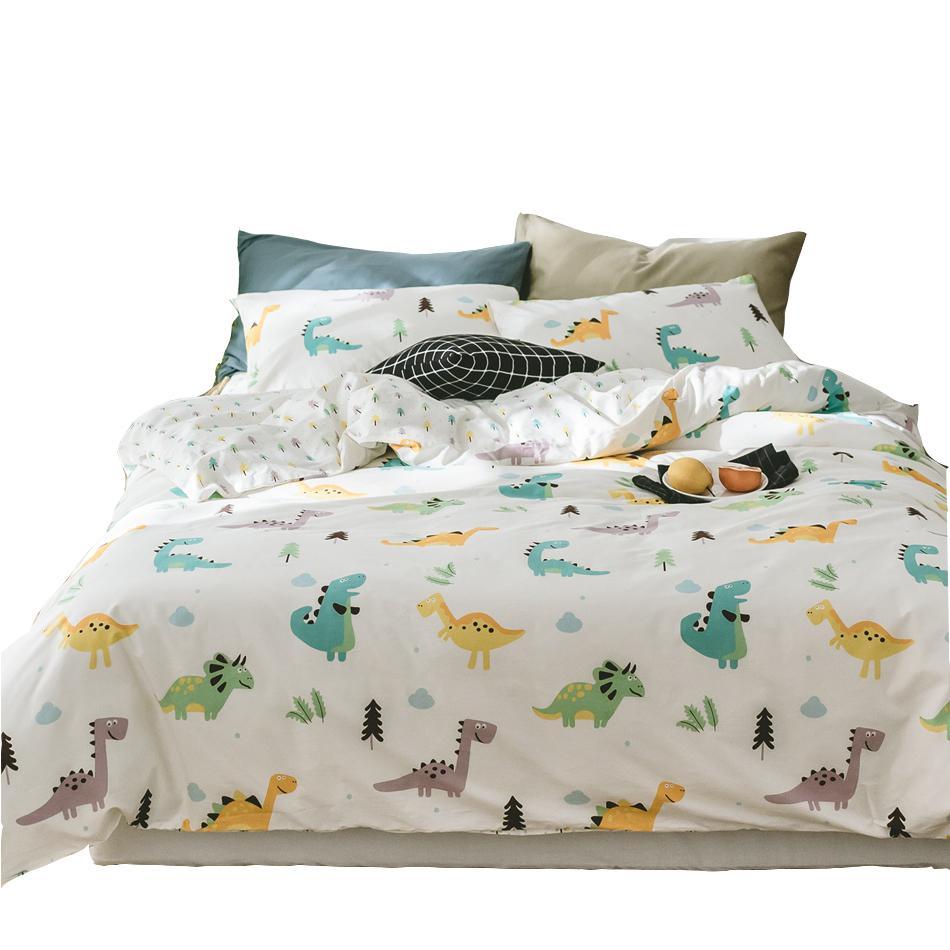 acheter ensemble de housse de couette dinosaure de bande dessin e ensemble de literie de lit. Black Bedroom Furniture Sets. Home Design Ideas