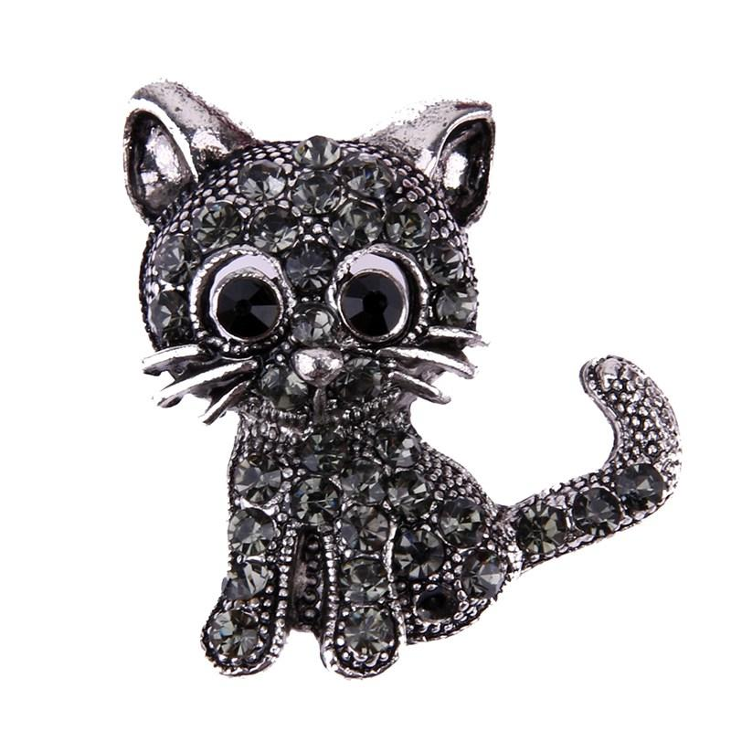 Fashion Jewelry Cat Kitty Kitten Pin Brooch With Rhinestones Up-To-Date Styling Jewelry & Watches
