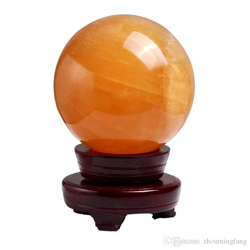 Special price!!! yellow calcite ice island rock crystal ball emotional pressure release wealth set 35mm.