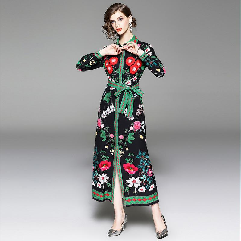 Women Vintage Floral Shirt Dresses Long Sleeve High Waist with Belt ... f30558459f7e
