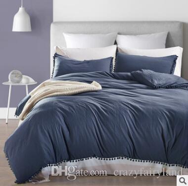 d98ddfaf938 Soft Pom Fringe Bedding Set Solid Color Duvet Cover Set Bed Cover And Pillow  Sham With Tassels Fluffies Fringe Twin Queen King King Comforter Blue Duvet  ...