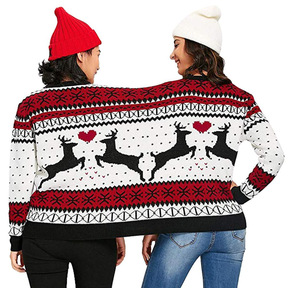 2 Person Christmas Sweater.2018 Autumn Winter Sweater For Women Two Person Ugly Sweater Xmas Couples Pullover Novelty Christmas Blouse Top