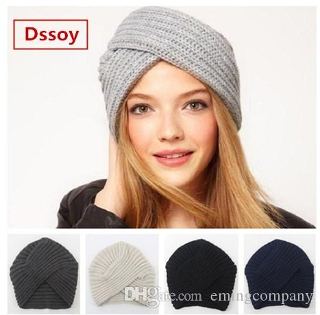 a270080234f Fashion Womens Bohemia Knitted Headbands For Winter Acrylic Winter Sports  Head Warmer Beanie Solid Color Fancy Hats For Woman Gorro Gorras Beanie Hats  For ...