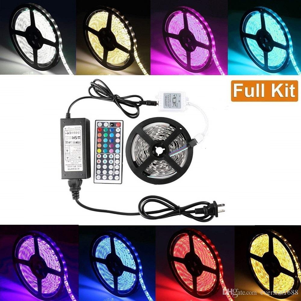 Waterproof Multicolor Strips Ip65 5m 300 Leds 5050 Rgb Led 60 Ul Listed Strip Lights By The Foot Per Reel Remote Controller 12v 5a Power Supply Eu Us Au Uk Plug Free