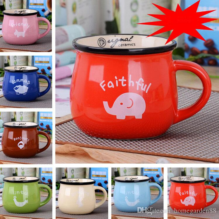 Retro Creative Ceramic Cup Big Belly Cup Milk Breakfast Coffee Cup Color Glaze Mug Logo Custom