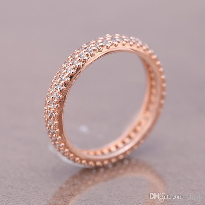 100% 925 ANILLOS de plata esterlina con cubic zircon Caja original Para Pandora Anillo de moda para el Día de San Valentín Anillo de bodas de oro rosa para mujeres