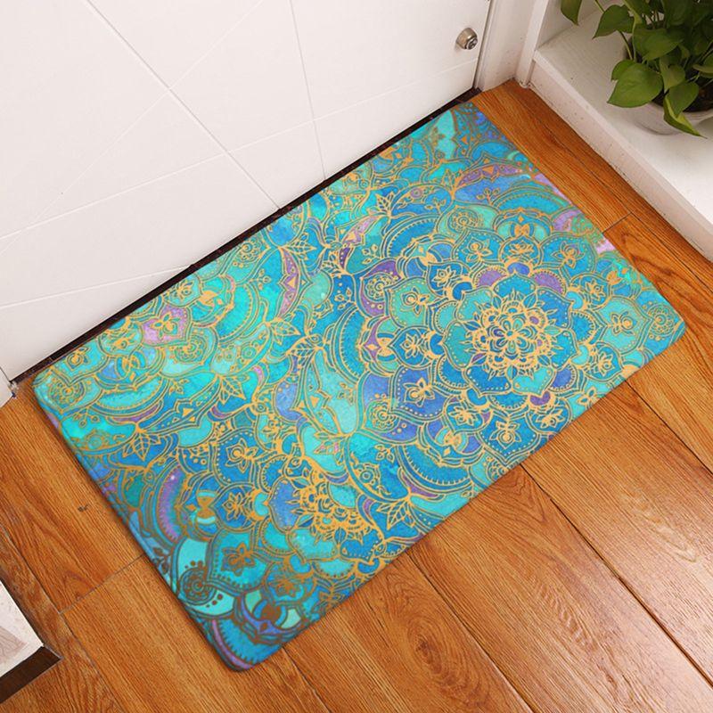 Grosshandel Homemiyn Mode Badematte Gold Blumen Blau Painted Flanell