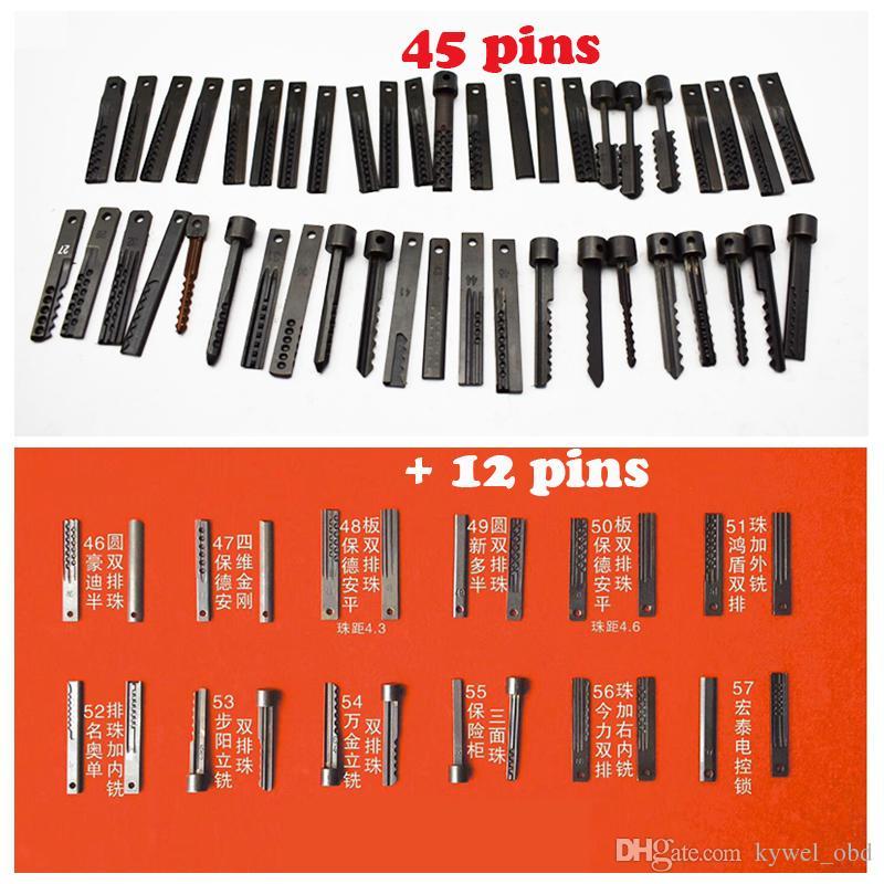 2018 Nuevo Dimple Lock Electronic Bump Gun Tool 57 pin Heads Batería 12V Puerta Desbloqueo Máquina Llave Máquina de corte Cerrajería