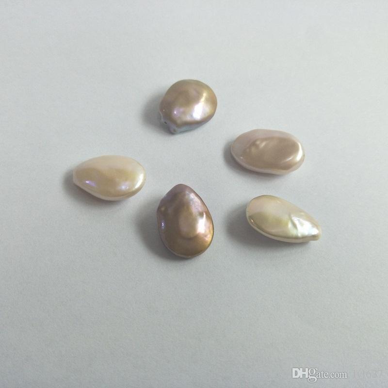 Anomalie Plat Teardrop Perle D'eau Douce 2018 Femmes DIY Bijoux Accessoires 15-19 MM Grandes Perles Matériaux Couleur Mixte Perles En Gros