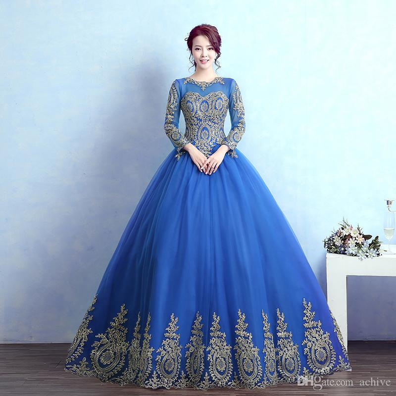 Fashion Real Photo Applique Lace Long Sleeves Wedding Dresses Red Blue Tulle Arabic Wedding Gowns Sexy Custom Made Bride Dresses 2020