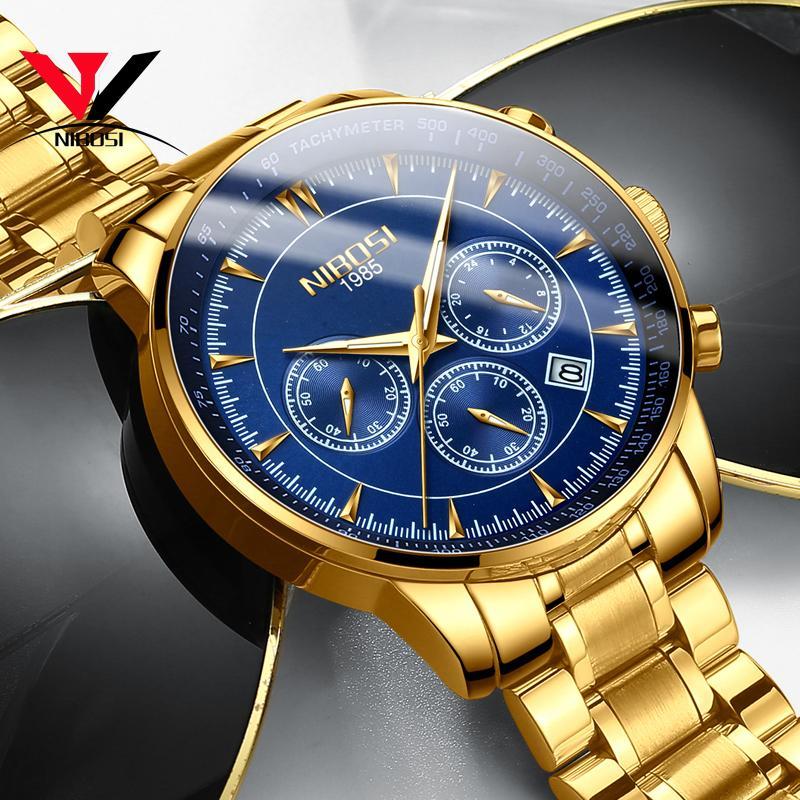 2e4b3578d4a Compre Relogio Masculino NIBOSI Relógios De Quartzo Homens Banda De Aço Homens  Relógios 2018 Marca De Luxo De Pulso À Prova D  Água Para A Marca Saat De  ...