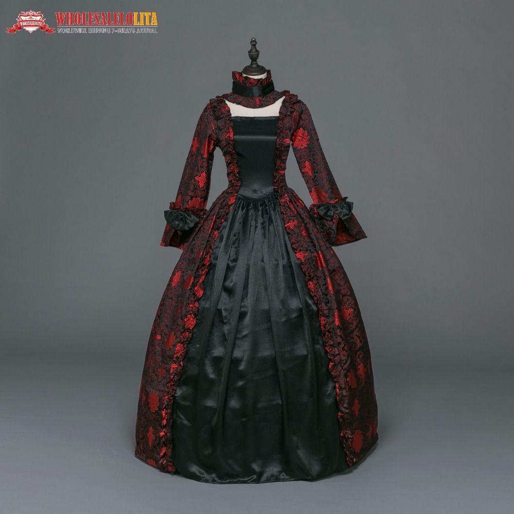 Gothic Period Medieval Dresses Renaissance Brocade Dress Gown ...