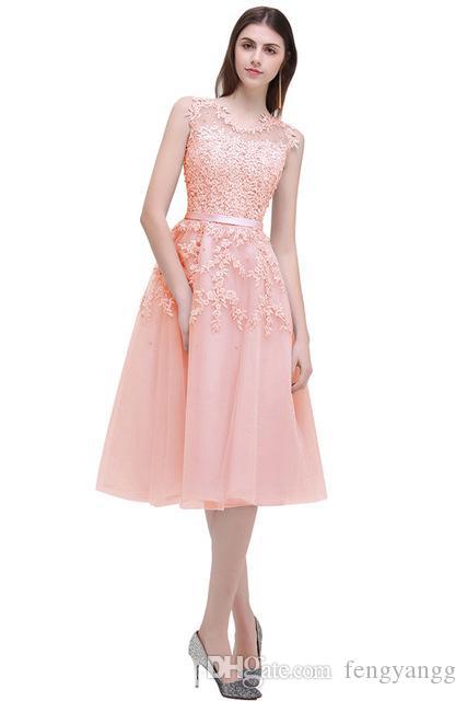 9b15f3faee7d09 Großhandel Heißer Verkauf Tüll Kleid Party Abendkleid Kleider Kurze Spitze  Knielangen Rot Rosa Heimkehr Kleid Von Fengyangg, $71.36 Auf De.Dhgate.