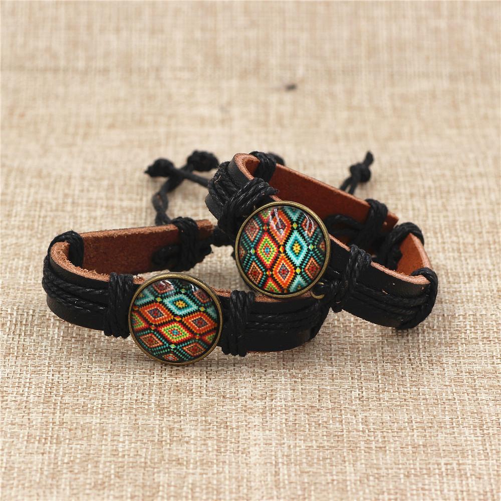 DGW Time Gems Green Tree of Life Vintage adjustable Leather bracelet fashion Jewelry for men gift wrap Bracelets