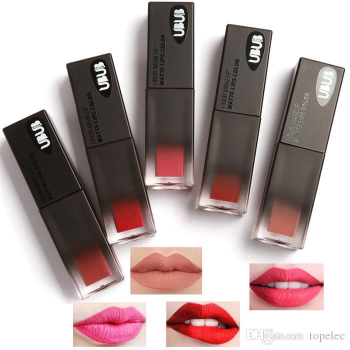 UBUB Sexy Impermeable Brillo Labial Líquido 10 Colores Mate Lápiz Labial Maquillaje Cosmético de Larga Duración Pigmento Nuevo Maquillaje para Niñas Mujeres