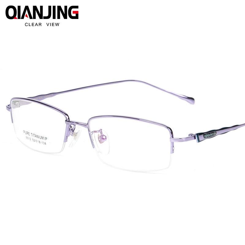 Compre Marco De Gafas Óptico De Medio Marco De Titanio Puro Gafas De ...