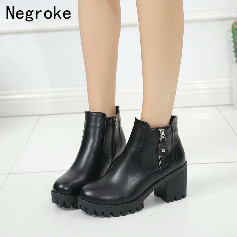 2c2c8763a7 Compre Botas Mujer Moda Mulheres Botas De Plataforma De Salto Alto Quadrado Zapatos  Mujer PU De Couro De Pelúcia Sapatos De Inverno Bombas Ankle Boots De ...