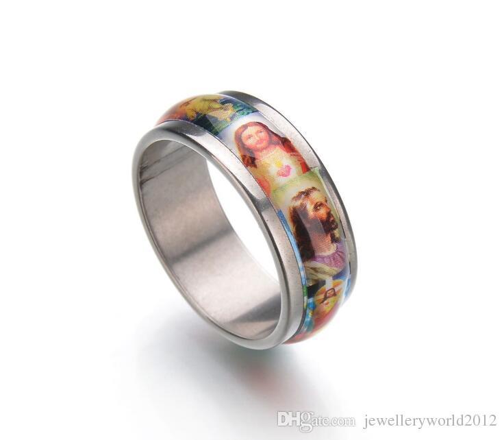 8mm breite Edelstahl Öl Tropfen Ölgemälde Ring Männer und Frauen präsentieren Titan Stahl Jesus Ring Mix Größe 7-11