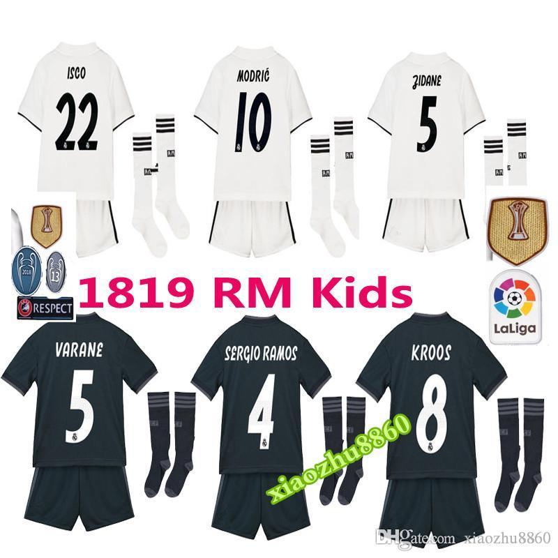 fa63ebab42a03 2018 2019 Champions League Real Madrid HAZARD Jersey De Fútbol Para Niños +  Calcetines 18 19 Camiseta De Fútbol Bale Uniformes De Fútbol Asensio Isco  Soccer ...