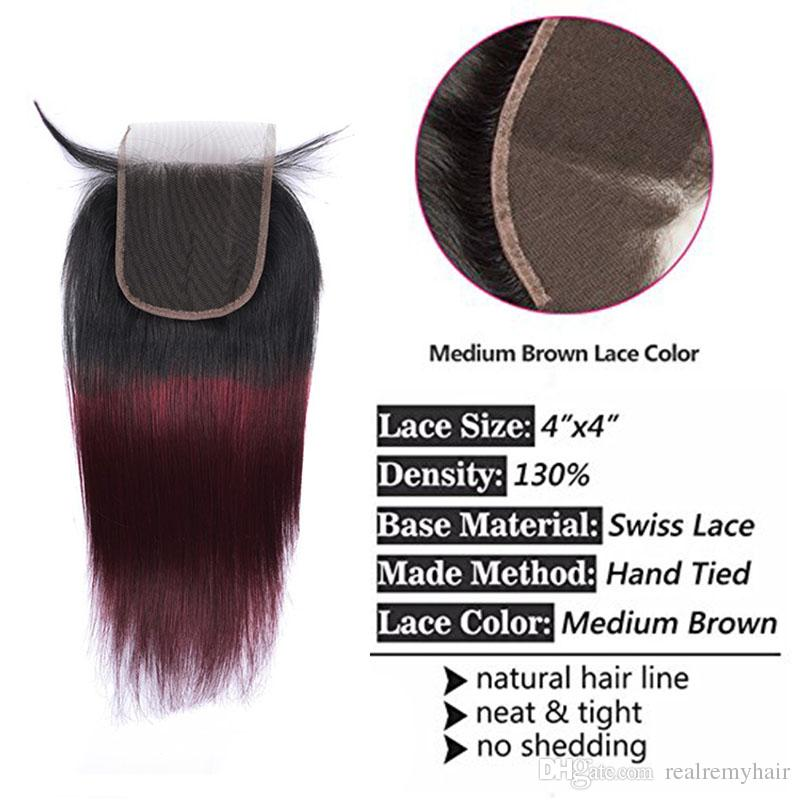 Brazilian Ombre Burgundy Human Hair Bundles With Closure Colored 1B/99J Brazilian Straight Virgin Hair Weave Extensions With Lace Closure
